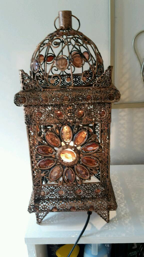Moroccan Style Jeweled Cutwork Stunning Table Lamp