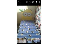 Single handmade miniins bed and mattress