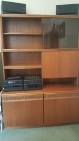RETRO BROWN SIDEBOARD - With drinks cabinet and display shelves (Speaker system NOT included)