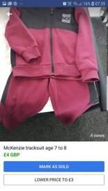 McKenzie tracksuit age 7 to 8 burgundy
