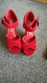 Velvet ruby red sandles size 3