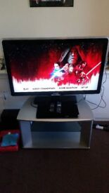 tv, bluray player and stand