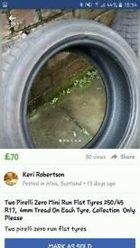 Two pirelli run flat tyres