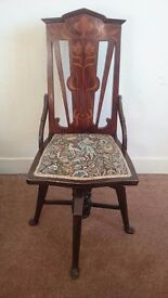 Elegant occasional swivel-chair with tapestry seat