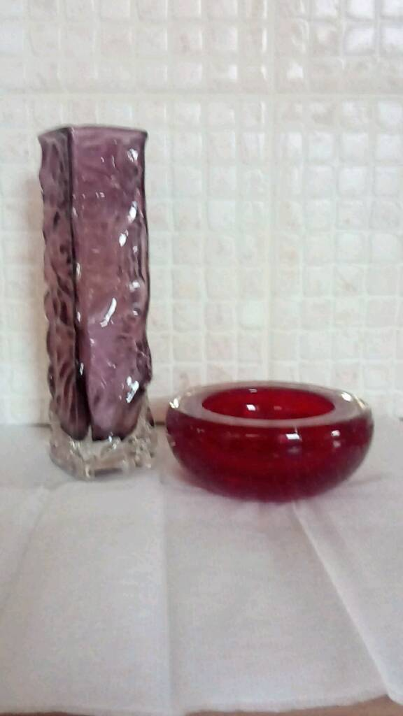 Whitefriars Glass Bowl And Bark Textured Vase 1965 Designed By