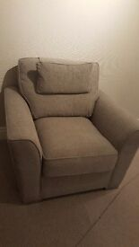 Chair and matching puffett grey cloth.Brand new. delivered 4th October 16 (not required)