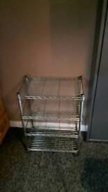 Metal shelves on wheels
