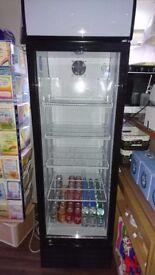 Salad prep counter with 3 door fridge underneath and upright display fridge
