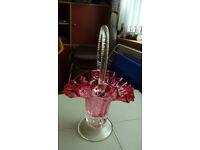 Cranberry Glass Basket