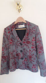 Women's jacket. Roman Originals. Size 14. Grey with red floral design. Fully lined.