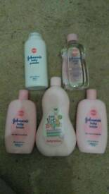 Brand new, bottles baby lotion, baby oil and baby powder