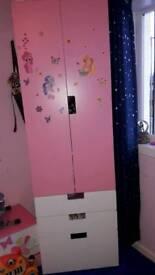 Girls Pink n White Ikea Wardrobes