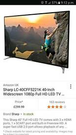 "Sharp 40""SUPER SLIM LED WITH TWIN USB & FREEVIEW AS NEW"