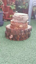 Log slices ideal for wedding table decorations