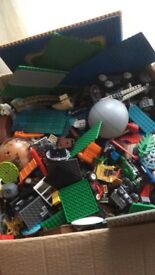 Box of Lego, vehicles, figures , base plates and lots more