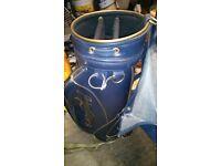 Large dark blue leather golf bag with hood