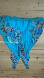 summer dress size 12/14 lovely turquoise and multi short polyester lovely colours
