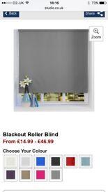 2 BRAND NEW Plain 4ft Grey Roller Blinds