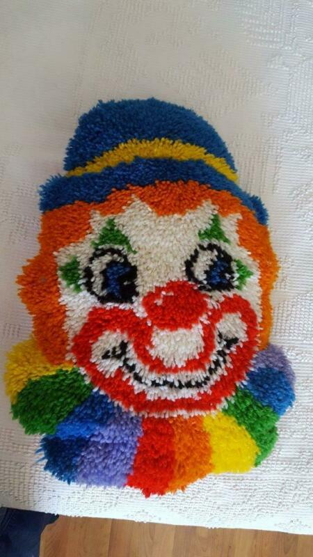 "HUGE 25"" FINISHED HANDMADE LATCH HOOK RUG CLOWN PILLOW, HAPPY CIRCUS, QUILTED BA"