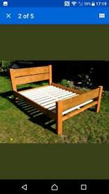 Rustic double bed.