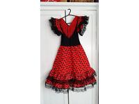 Girls Fancy Dress Costume Spanish Flamenco Dancer Outfit
