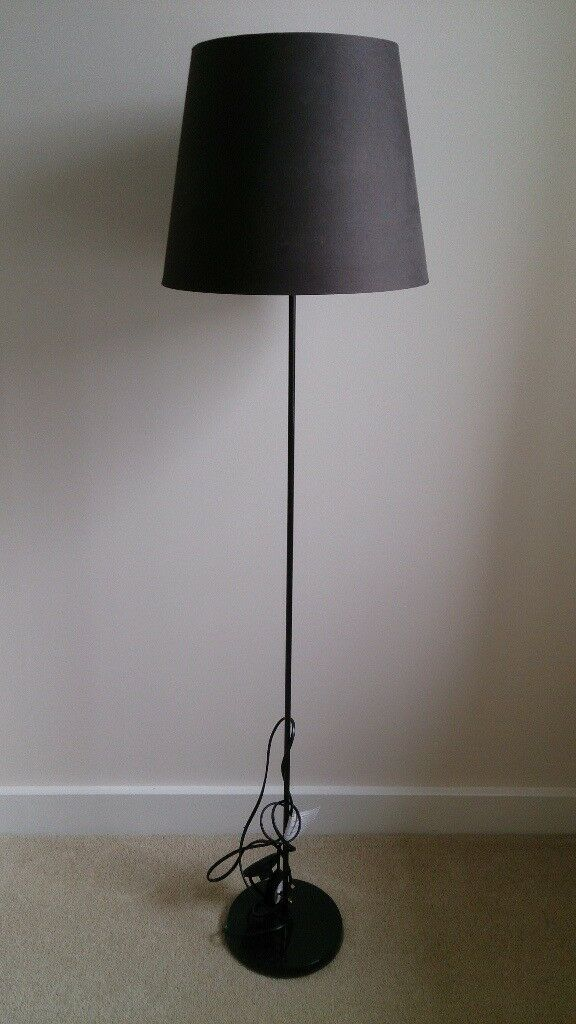 4ft black habitat standing lamp with brown lamp shade