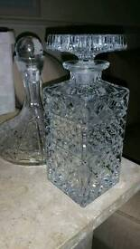 Two crystal carafes