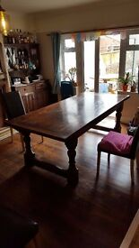 Large Solid Oak Dining Table (2m15cm long)