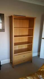 Solid oak display cabinet / bookcase with drawers