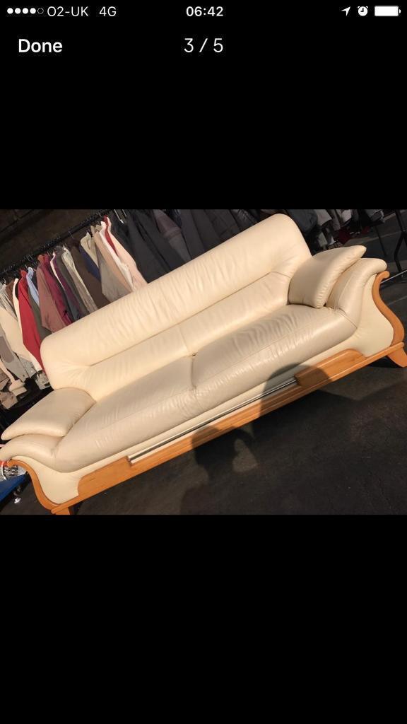 cream leather 3&2seats sofas