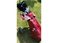 Full set of Men's golf clubs and trolley for sale