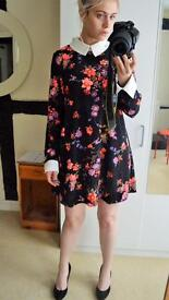 Vintage Japanese Style Flow Dress with Oversized Cuff