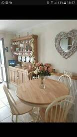 Shabby chic round dining table & chairs