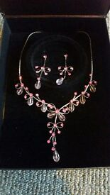 prom necklace and earrings.