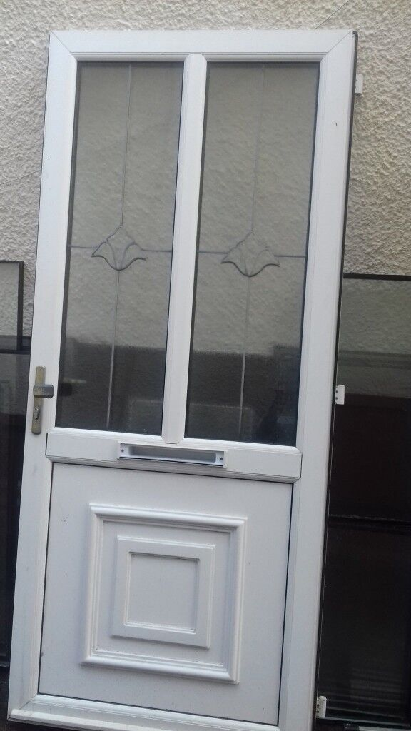 Front Door Upvc With Double Glazed Panels White 82in X35 In In