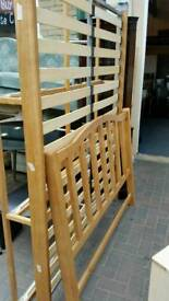 Pine double bed frame with drawers
