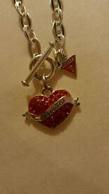 Guess red heart necklace