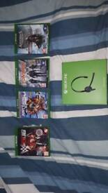 Xbox one chat headset & 4x games