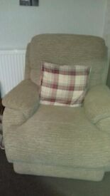 Three seater sofa and single armchair in oatmeal fabric