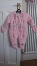Girls pink snow suit, age 3 - 6 months, good used condition