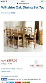 Wiltshire solid oak dining room table and 6 chairs brand new still boxed
