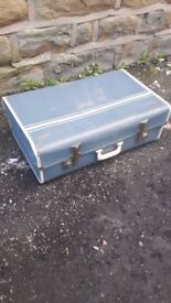 Vintage Retro Antique Blue Suitcase Suit Case Luggage Trunk Storage Display