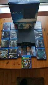 ps4 500g with box and 17 games