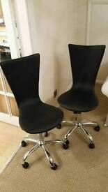 Two Black Leather Swivel Office Chairs £30