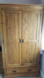 Rustic Solid Oak Double Wardrobe