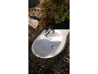 White sink and pedestal with high quality mono tap