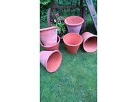 terracotta vintage nostalgic. pots named. for potting up display. staging.interior exterior