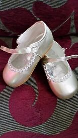 Children's gold diamanté flat shoes