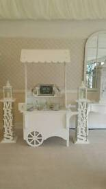 Candy Cart with Mr and Mrs Pedestal hire only