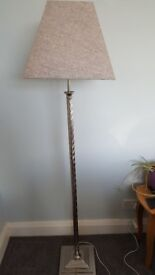 Silver standard lamps with grey shades